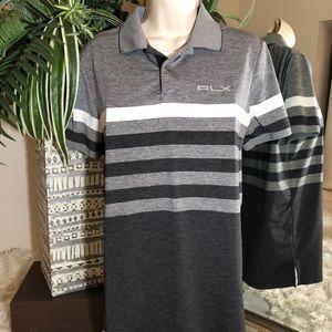 RLX Ralph Lauren Grey Stripe Polo Shirt